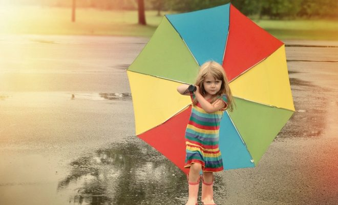 Rainbow Umbrella Child Walking in Park